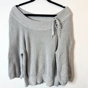 Express off shoulder oversized chunky sweater